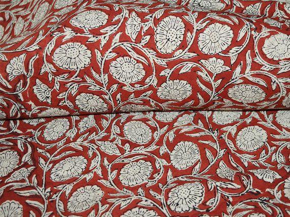 White Base Paisley Hand Block Printed Fabric Natural Dyes
