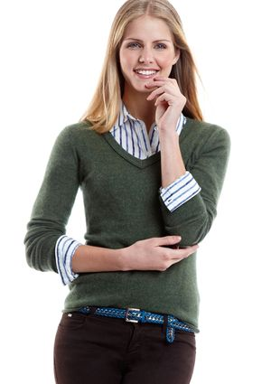 GABRIELLA ROSSI CASHMERE Cashmere V-Neck Edge Detail Sweater    I can't wait for sweater season!