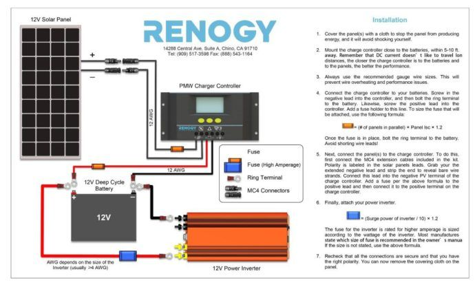 Renogy Solar Panel Installation Solar diagrams Pinterest Rv