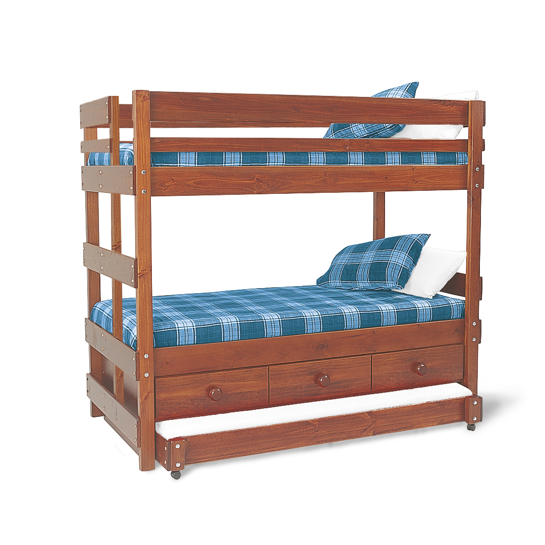 Captains end ladder bunk bed with underbed drawers and