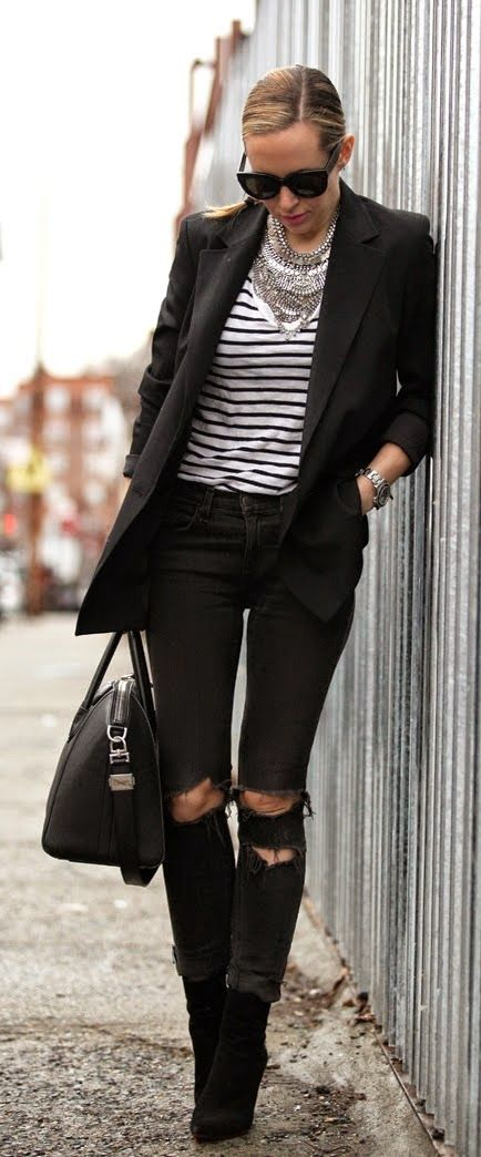 Chic Black Blazer Stripes Gorgeous Necklace