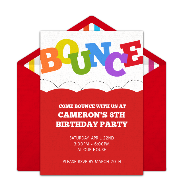 Free bounce invitations bounce house birthday girl birthday and free girl birthday invitations adorable girl birthday online invitations you can personalize and send via email great for a bounce house birthday party stopboris