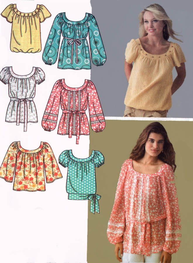 Misses Pullover Top and Belt in Two Lengths 6 Styles Sewing Pattern ...