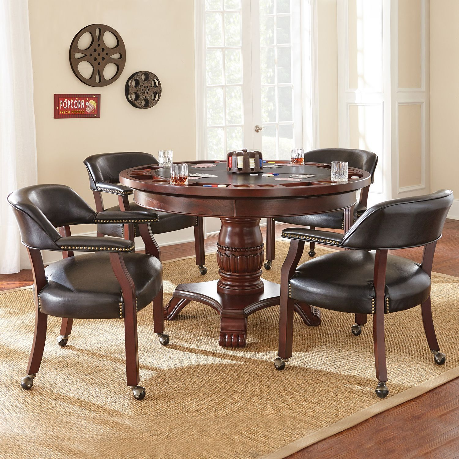 Talley Dining Table with Poker Game Top and 4 Chairs