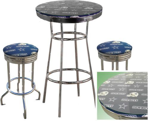 Dallas cowboys nfl football glass top chrome bar pub table set with dallas cowboys nfl football glass top chrome bar pub table set with 2 swivel bar stools zpatiofurniture watchthetrailerfo