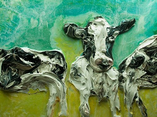 48x36 Cow by Justin Gaffrey - This is in my top favorites...love the teal and the sweet face!