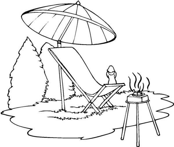 Summer Camp, : Summer Camp Barbeque Coloring Page
