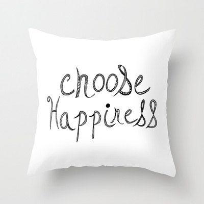 Cute Pillow Choose Happiness Decorative Pillow Coverhome Decor