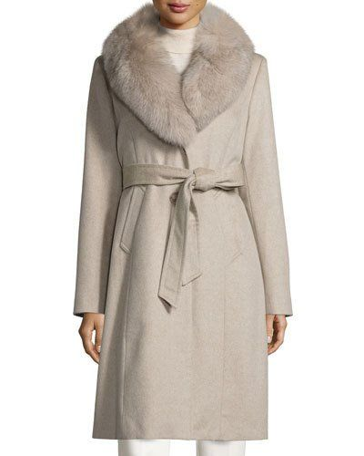 TCYEX Sofia Cashmere Long Belted Felt Coat, Stone | Fashion ...