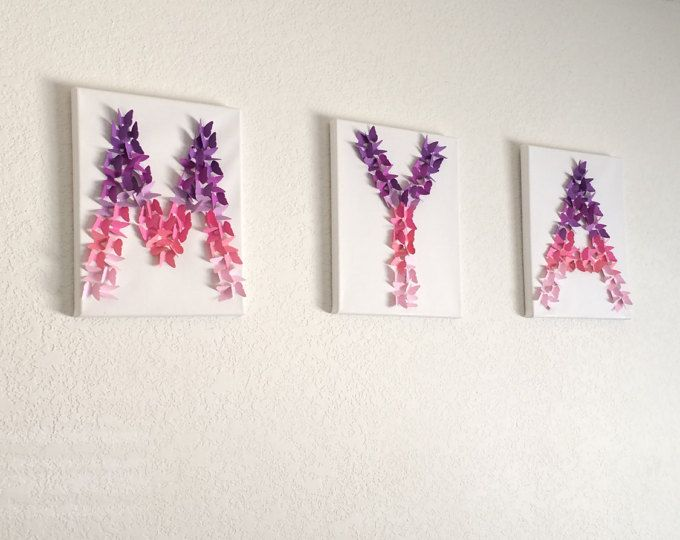 Lavender Pink Ombre Butterfly Letter Wall Decor Baby Girls Nursery Room  Letters Decor Party Wedding Personalized