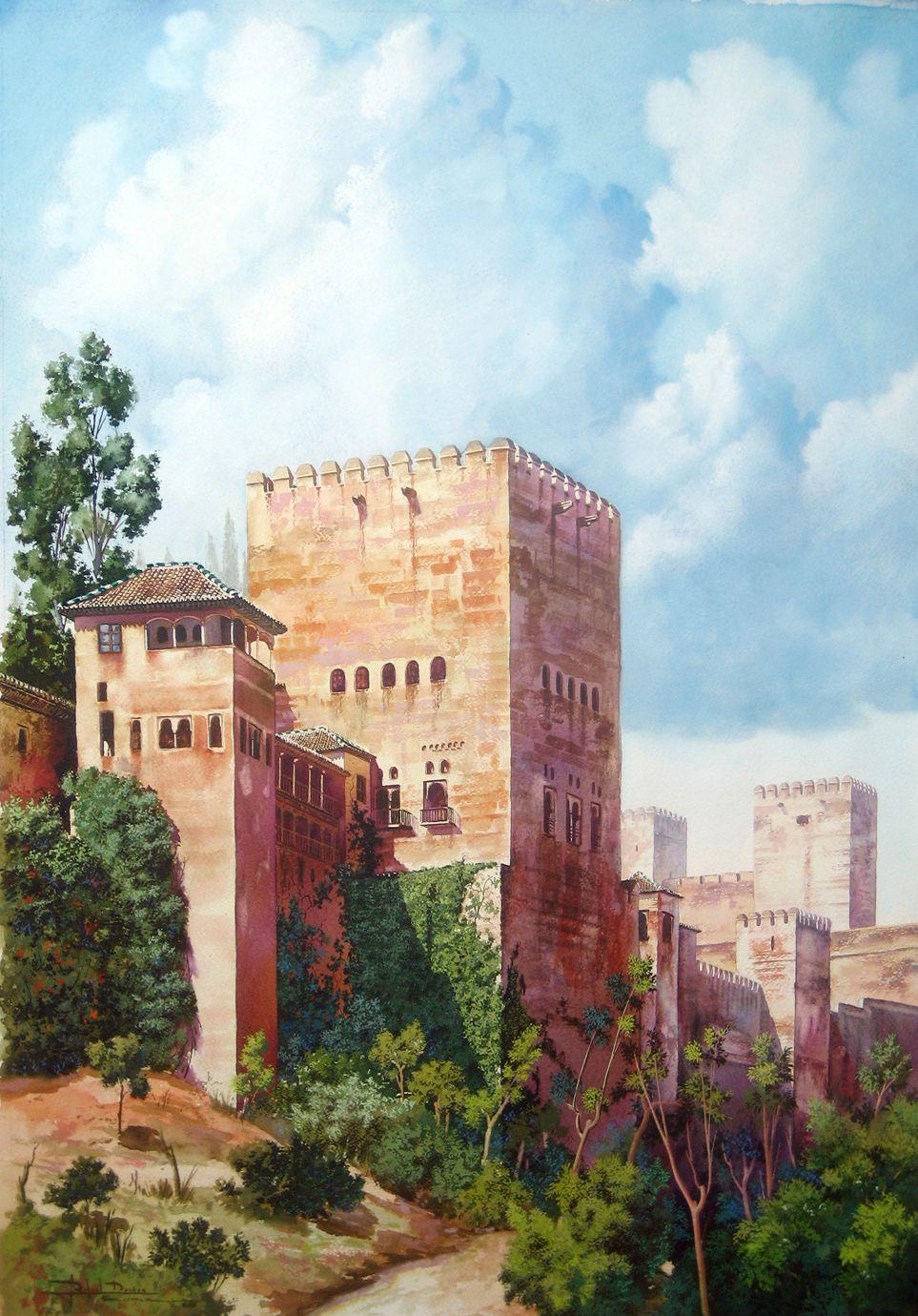 Torres de la alhambra acuarela y pastel de rafael due as - Pinturas arenas granada ...