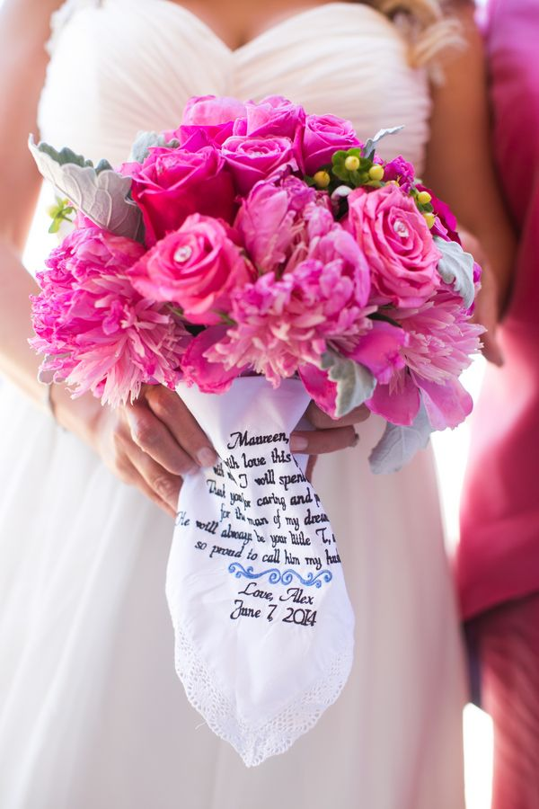 Amazing hot pink wedding bouquet, and we love the personalized handkerchief! | Photograph by Carly Fuller Photography
