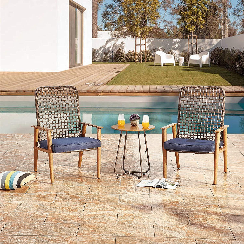 Lokatse Home 3 Piece Wicker Outdoor Conversation Bistro Set Patio Outdoor Furniture Sets Weathered Furniture Bistro Set