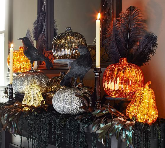 Lit Led Mercury Pumpkins Fun Halloween Decor Halloween House