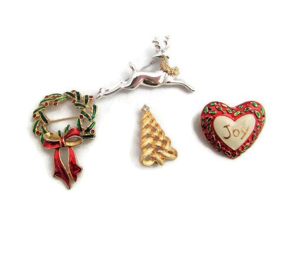 Four Christmas Theme Brooches in 2018 Vintage Jewelry Pinterest