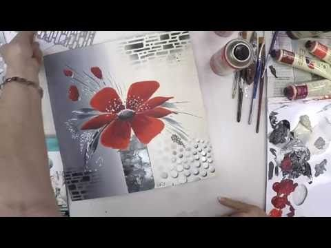 diy peinture acrylique 3 mini toiles coquelicots youtube paris. Black Bedroom Furniture Sets. Home Design Ideas