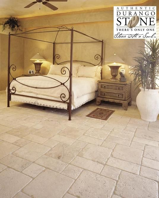 fabulous bedroom design with authentic durango veracruz truly tumbled floor tile to give the space a regal look of antiquity