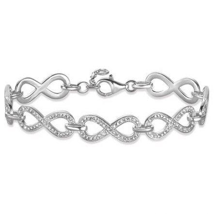 """925 Argent Sterling Lariat Bracelet avec Labo Diamants Accents//9/"""" réglable"""