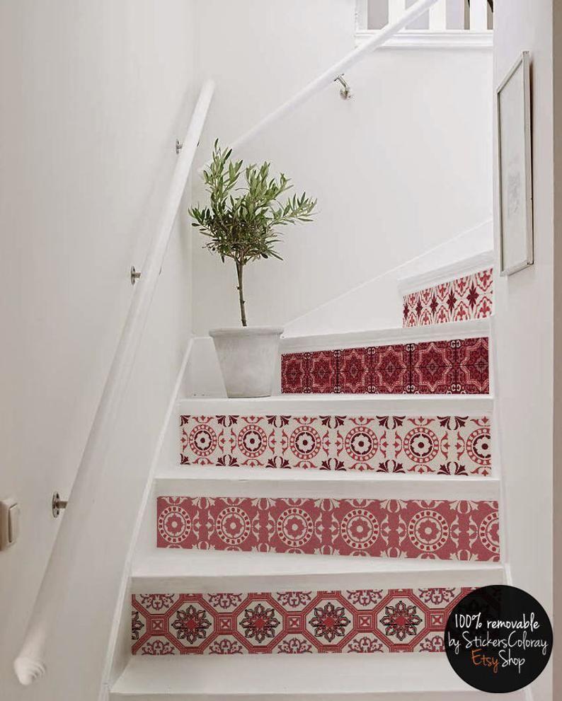 10 degré décalque de contremarche d'escalier, rouge blanc carreau escalier autocollant, décor d ...
