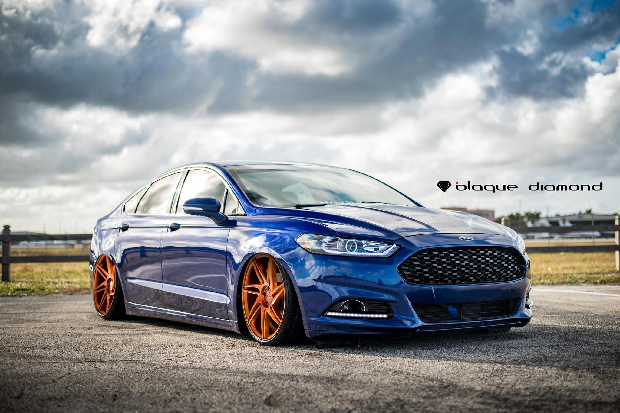 Slammed Ford Fusion On Insane Rims By Black Diamond Ford Fusion Ford 2013 Ford Fusion