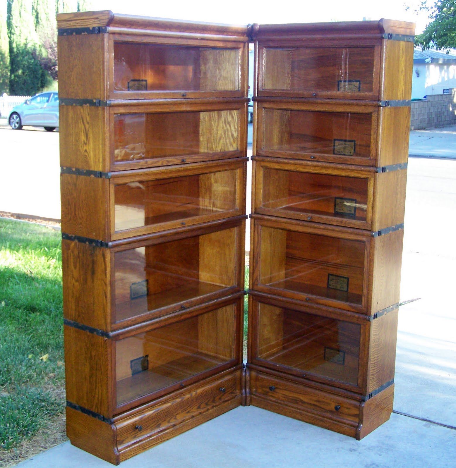 25 3 4 size globe wernicke bookcase corner unit antique lawyer