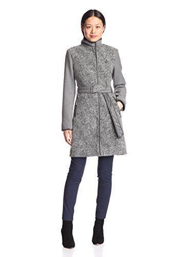 www.myhabit.com  Textured wool-blend coat with concealed zip closure, stand collar, zip pockets, tonal faux leather trim and long belt to buckle or tie
