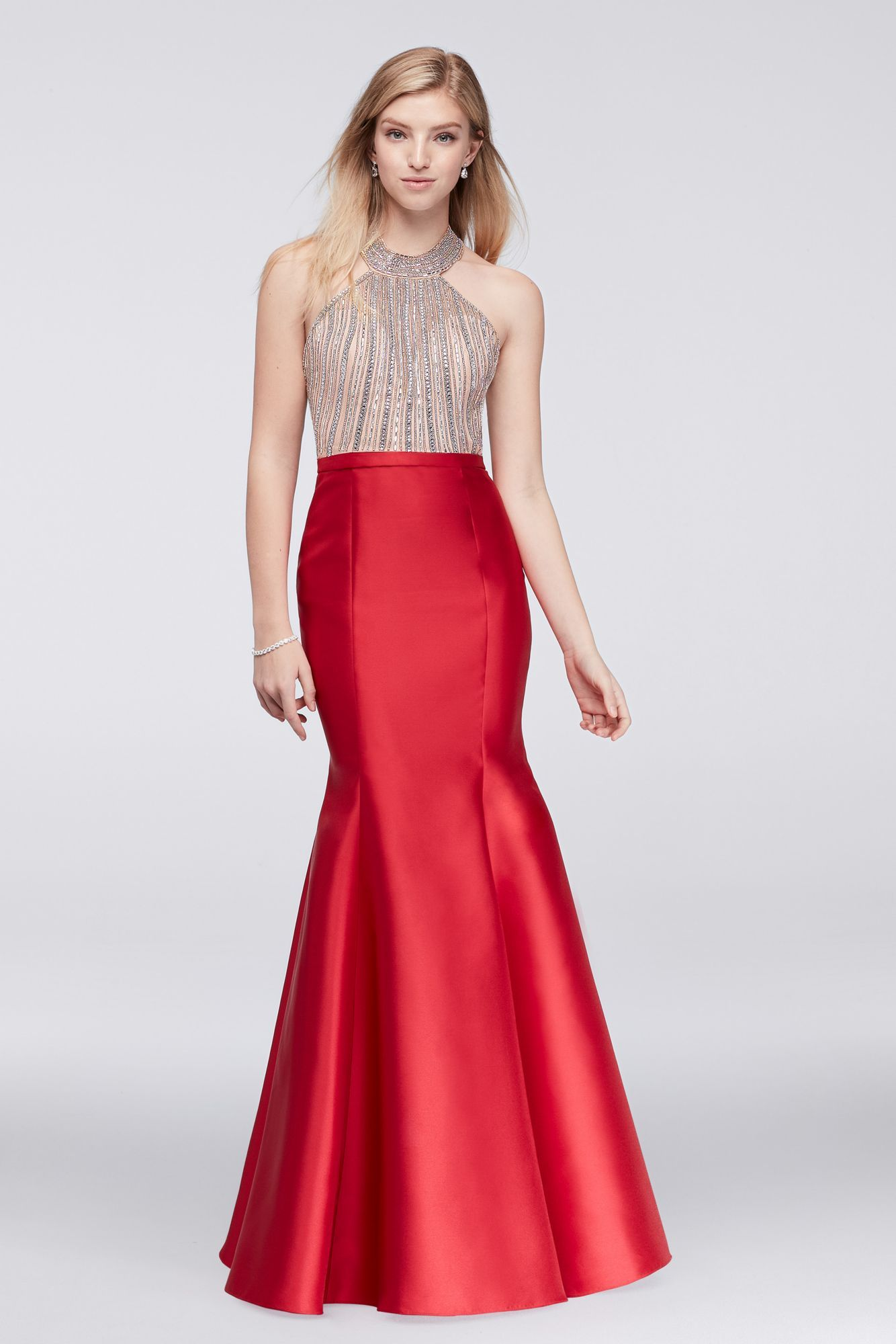 Delicately beaded halter neck long trumpt xs prom gown