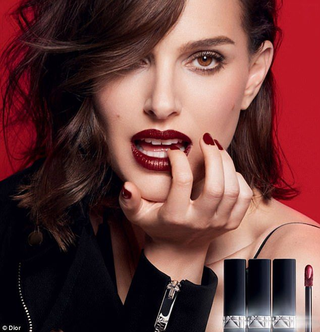 e64fd714c9f Sultry: Actress Natalie Portman oozes sex appeal in a new campaign for Dior  lip stain