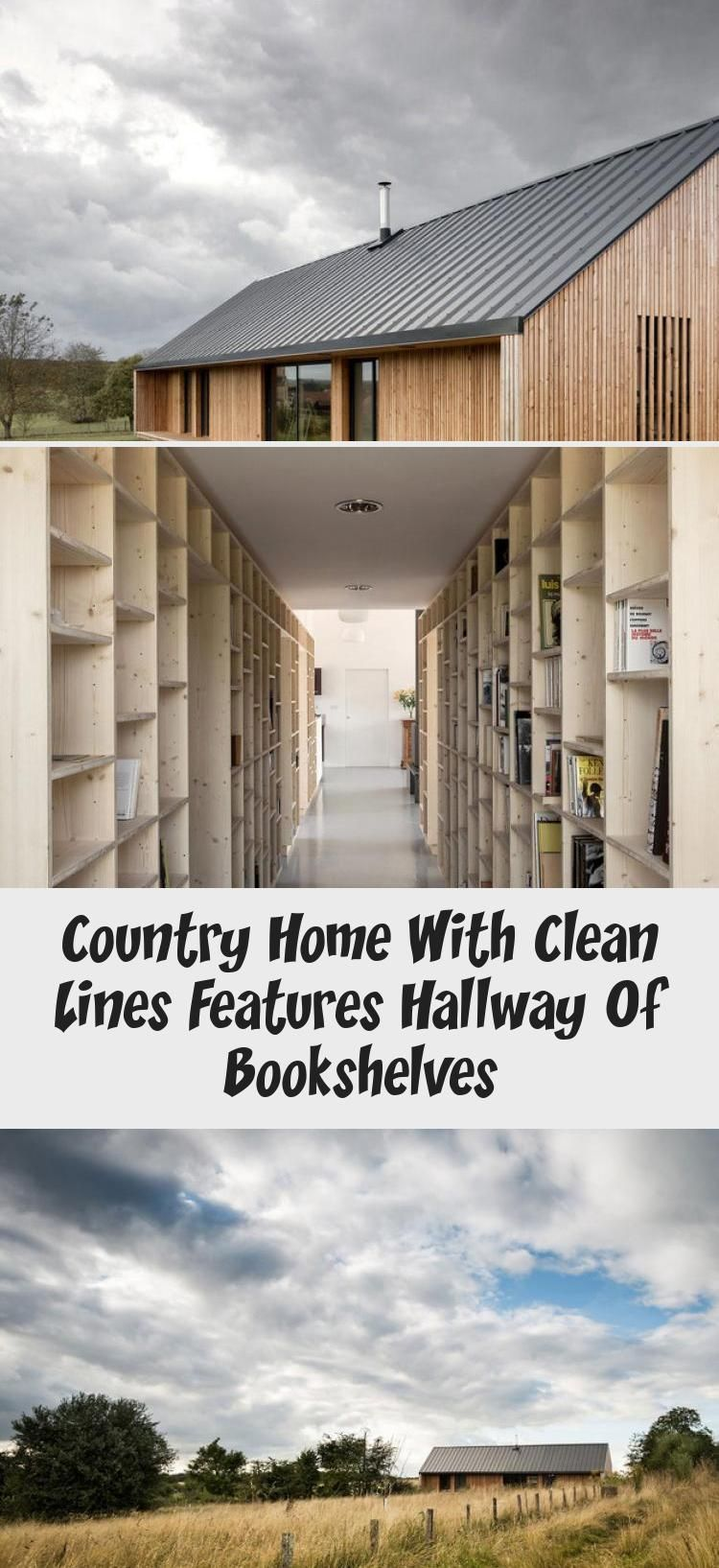 Country Home With Clean Lines Features Hallway Of Bookshelves #hallwaybookshelves Country Home with Clean Lines features Hallway of Bookshelves #countryhomeWithWrapAroundPorches #countryhomeBathroom #Simplecountryhome #countryhomeCurtains #countryhomePorch #hallwaybookshelves