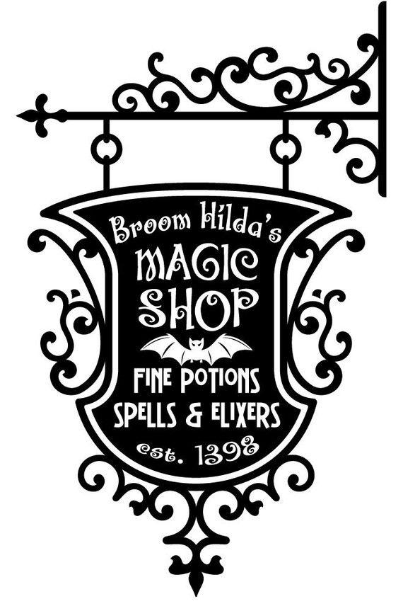 Vinyl Wall Decal Sticker Art - Broom Hildas Magic Shop Sign - Halloween Decoration, wordybirdstudios