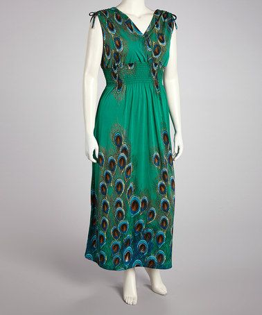 c786637f1a4 Take a look at this Green Peacock Surplice Maxi Dress - Plus by jon   anna  on  zulily today!