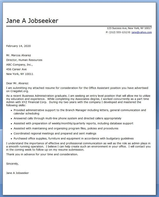 Sample Cover Letter For Medical Office Assistant Office Assistant Cover  Letter Sample