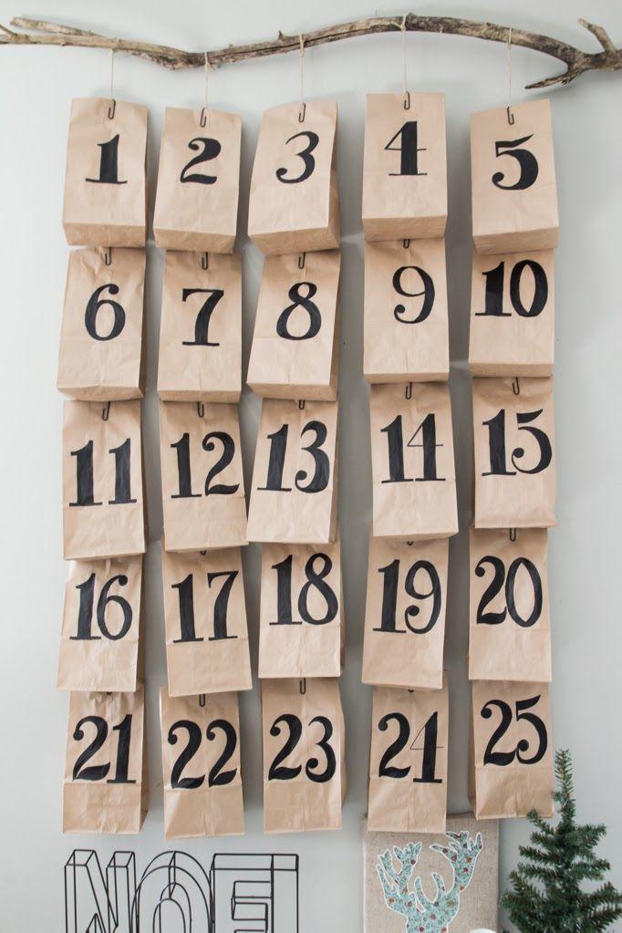 Hang Advent calendar from a branch Third Floor Design Studio DIY