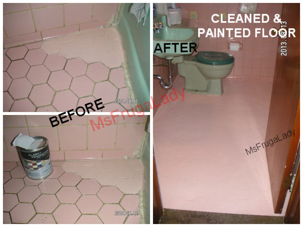 "Painting Bathroom Tile Floor no cleaners would whiten my ""black-decor trim"" on the hexagonal"