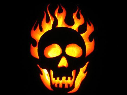 Flaming Skull 2008 Halloween Pumpkin Carving Kits Pumpkin