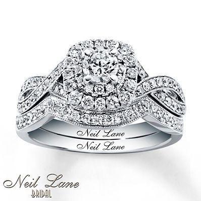 Neil Lane Bridal Set 2 Ct Tw Princess Cut 14K White Gold