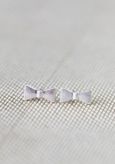 Petite Bow Studs In Silver