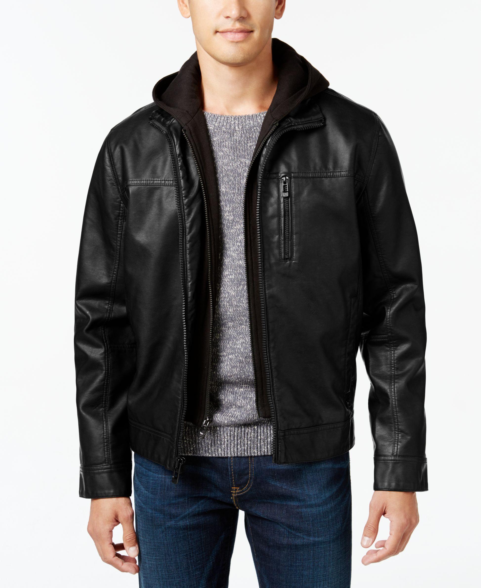 Calvin Klein Men S Faux Leather Hooded Jacket Faux Leather Hooded Jacket Leather Jacket With Hood Leather Jacket Men [ 2378 x 1947 Pixel ]