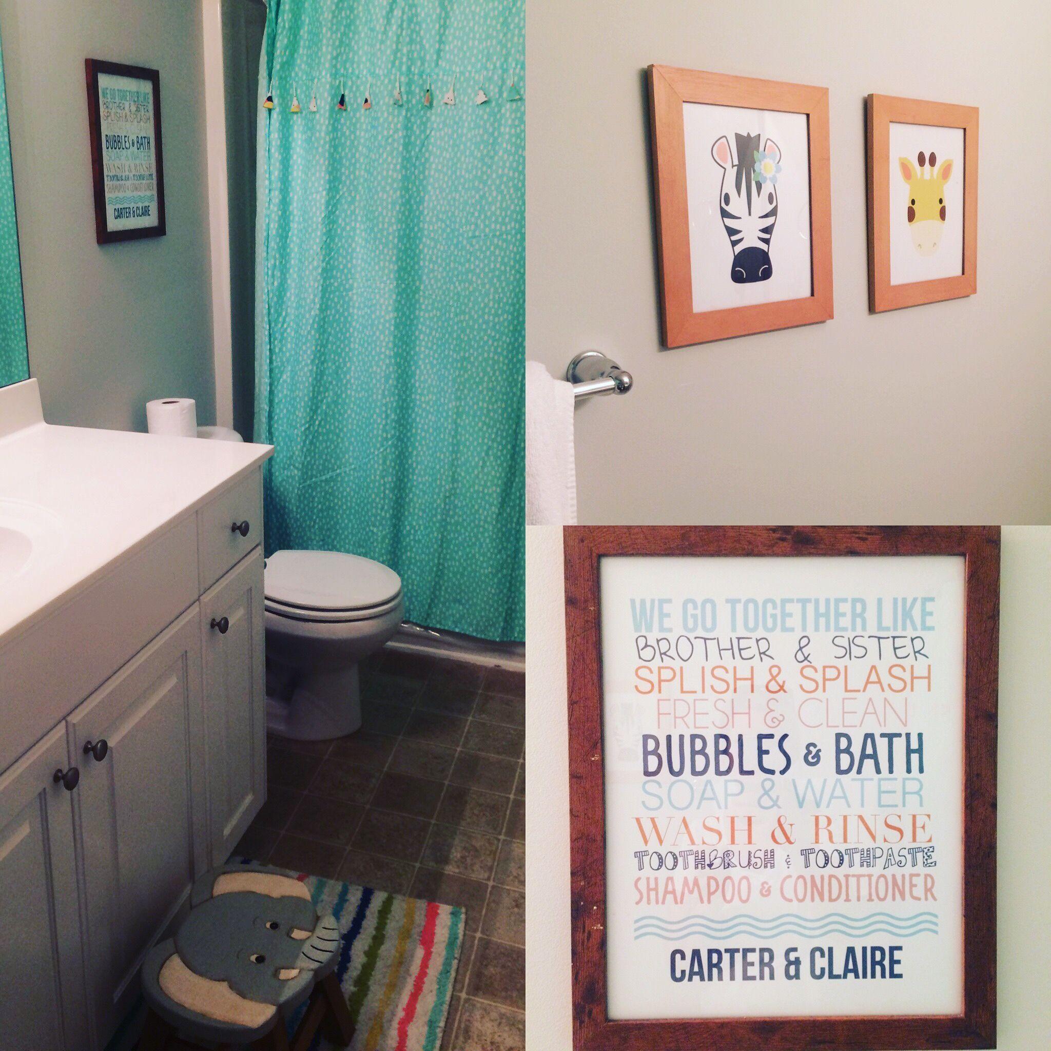 Kids Bathroom, Elephant Bathroom Decor, Giraffe Bathroom Decor, Brother And  Sister Bathroom,