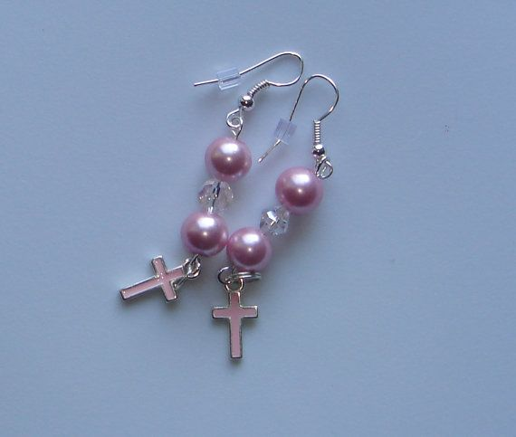 Drop Beaded Earrings with Pink Glass Pearl and Clear Crystal Beads with Pink Cross