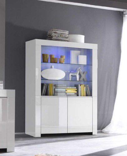Vitrine Amalfi 2-türig, 123 x 170 x 50 cm, weiß hochglanz ...