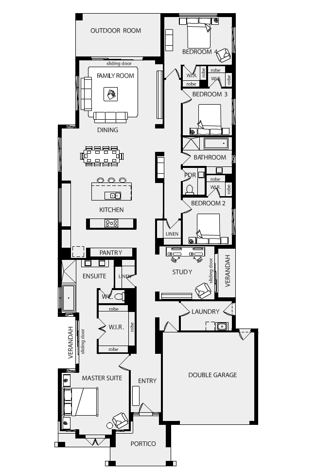 Metricon Do Great Floor Plans For Those Who Have A Suburban Size Block I Don T Mind Their Plans A Narrow House Plans Narrow Lot House Plans Garage House Plans