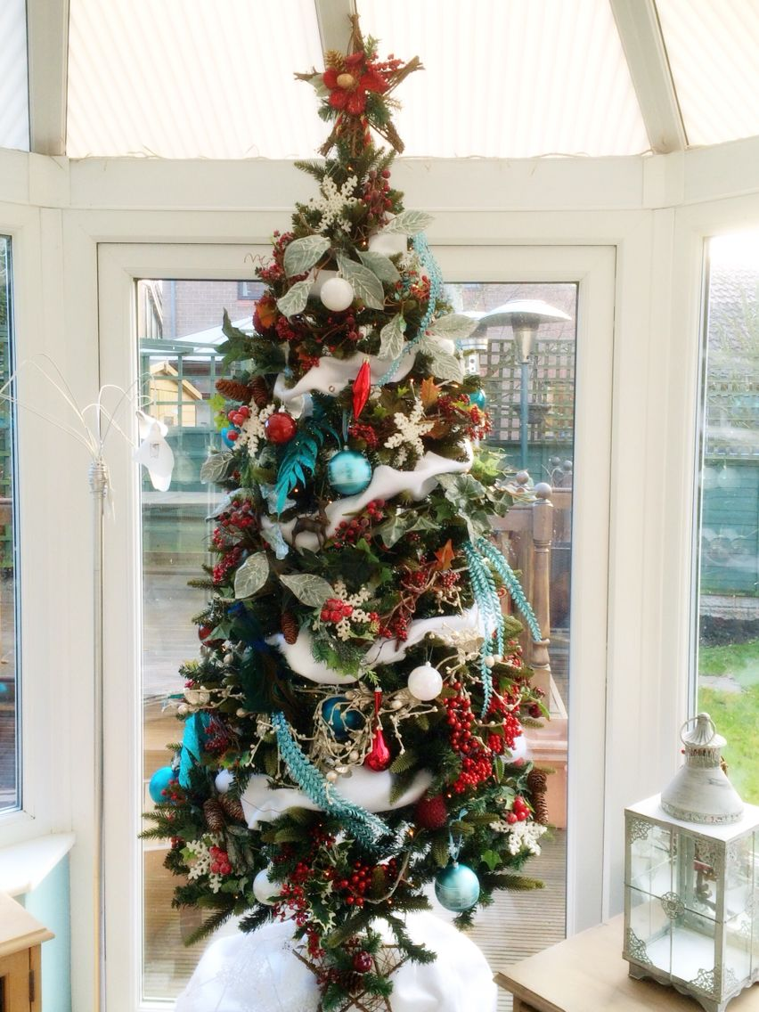 Christmas tree two. 2014 White, turquoise and red, rustic