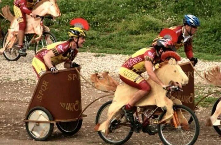 Cycling Roman legionnaires