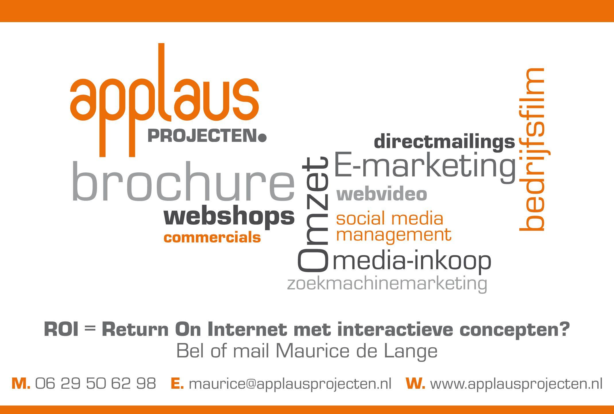 Applaus Projecten interactieve marketing concepten en social media management