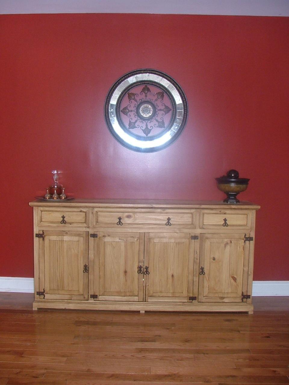 Rustic Mexican Pine Credenza Or Sideboard