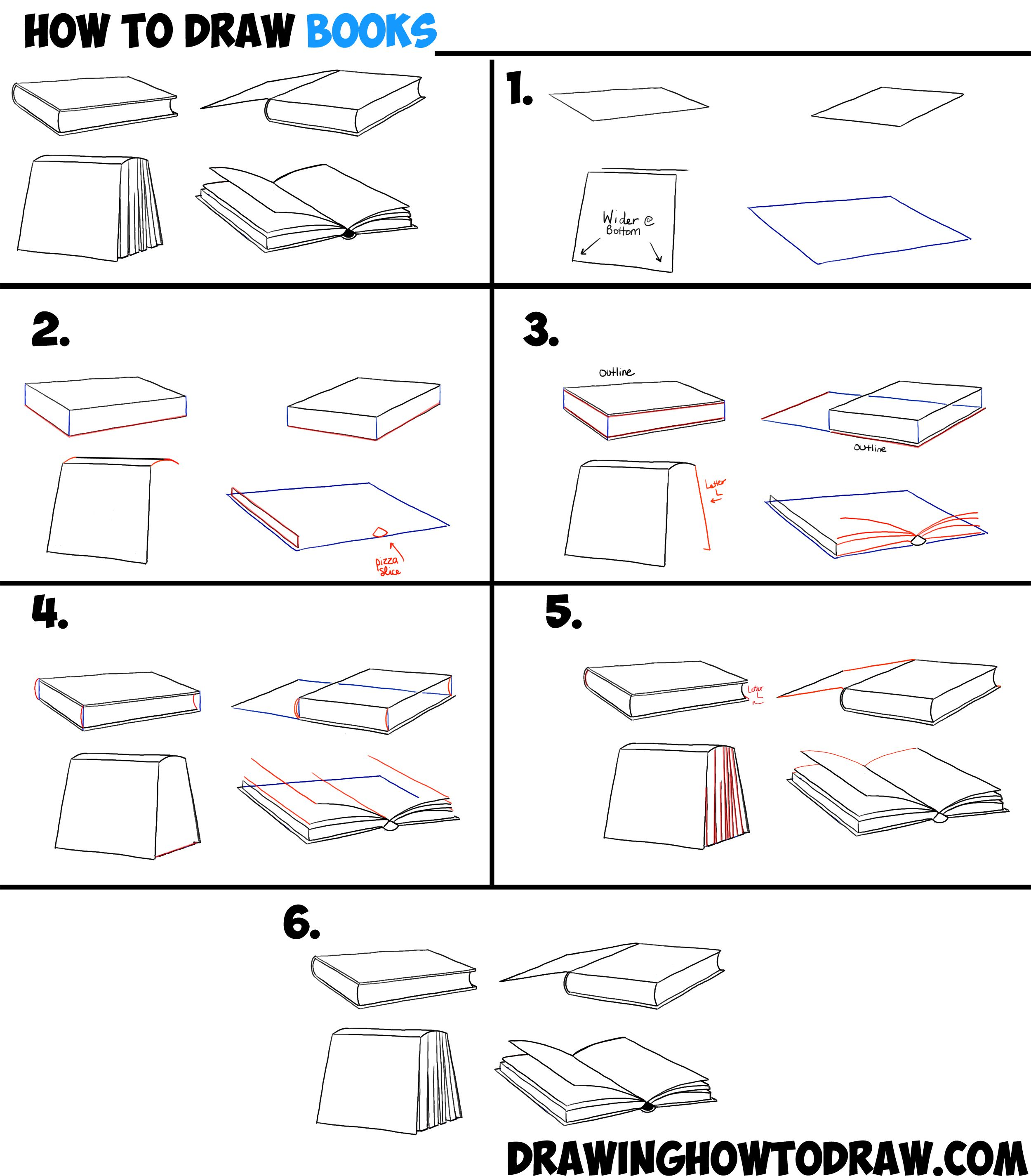 worksheet Drawing Angles how to draw books in 4 different angles perspectives open closed etc