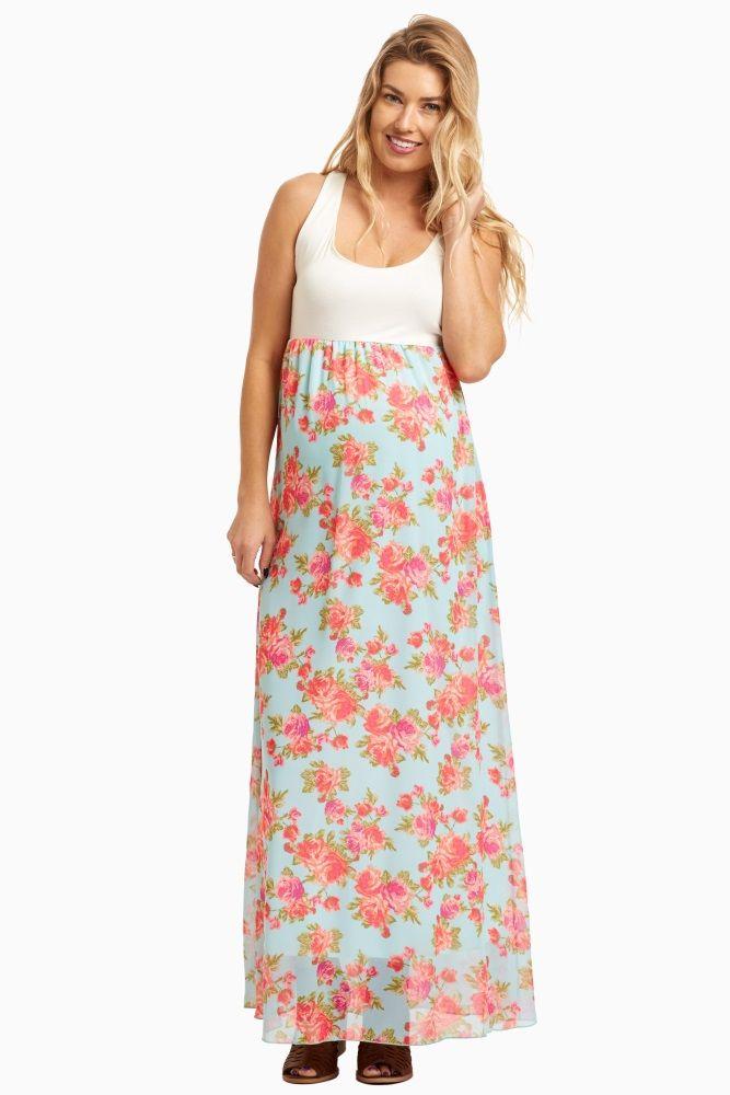 d66519710f14 Light Blue Floral Chiffon Bottom Maternity Maxi Dress | Girly Land ...