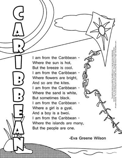 caribbean culture for kids - Love Poem Coloring Pages For Adults