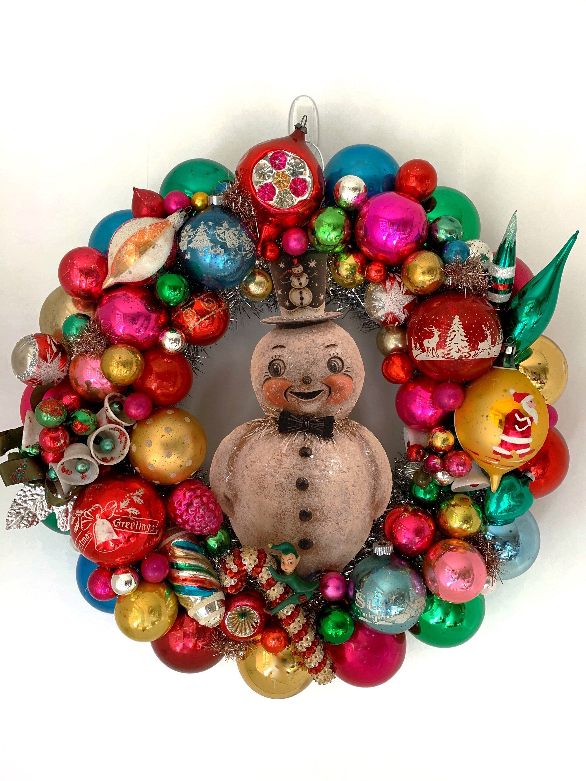 16 5vintage Ornament Wreath Johanna Parker Snowman Etsy Vintage Ornament Wreath Christmas Ornament Wreath Retro Christmas Decorations
